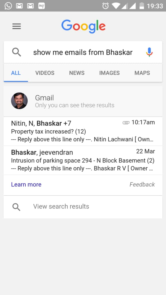Google Gmail Conversational Search
