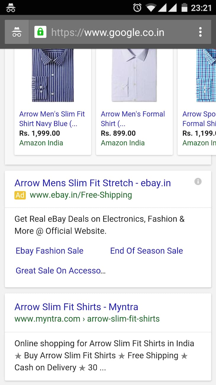 Arrow Slim Fit Mobile Search