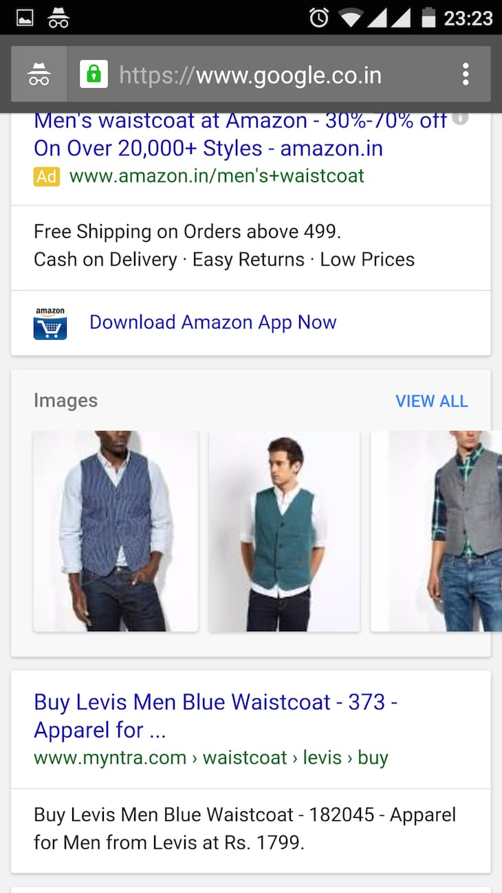 Levis Waistcoat Mobile Search