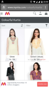 Myntra Colorful Kurtis Mobile Search