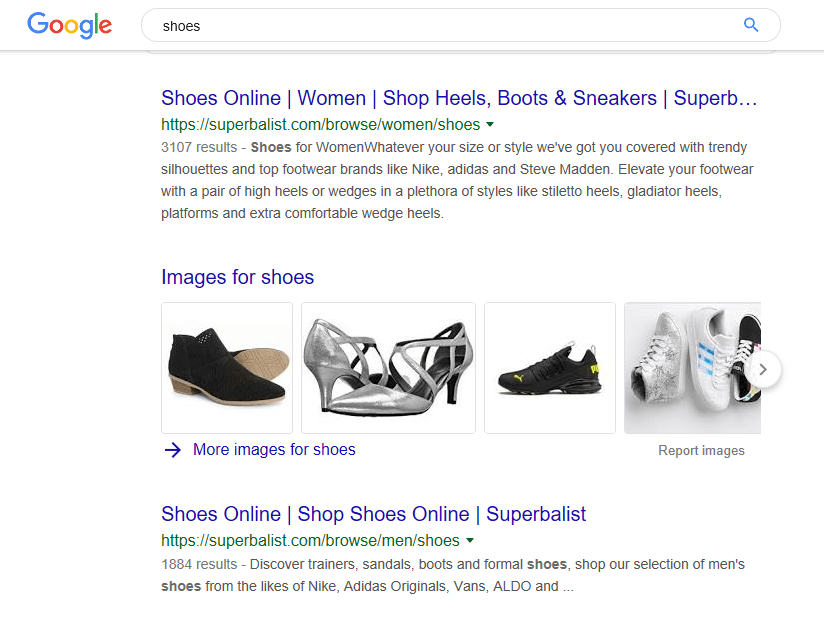 Superbalist is ranking 1st for Shoes keyword in South Africa