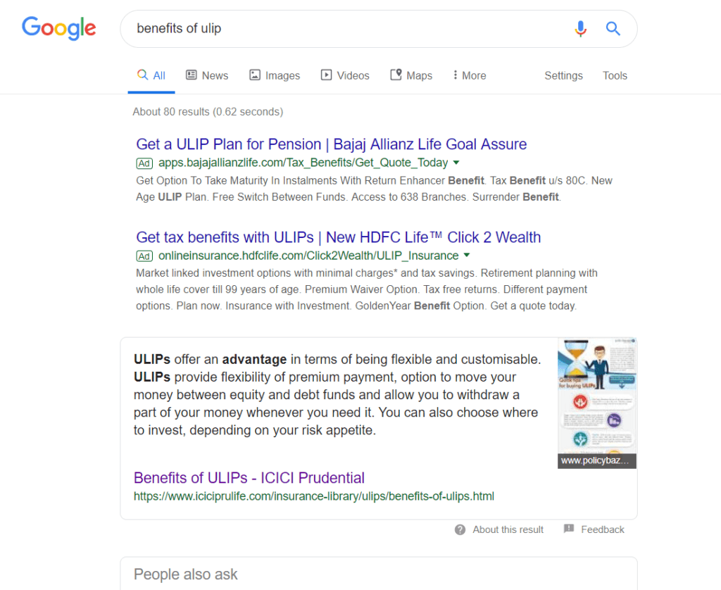 ICICI Prudential is ranking on Featured snippet for benefits of ULIP