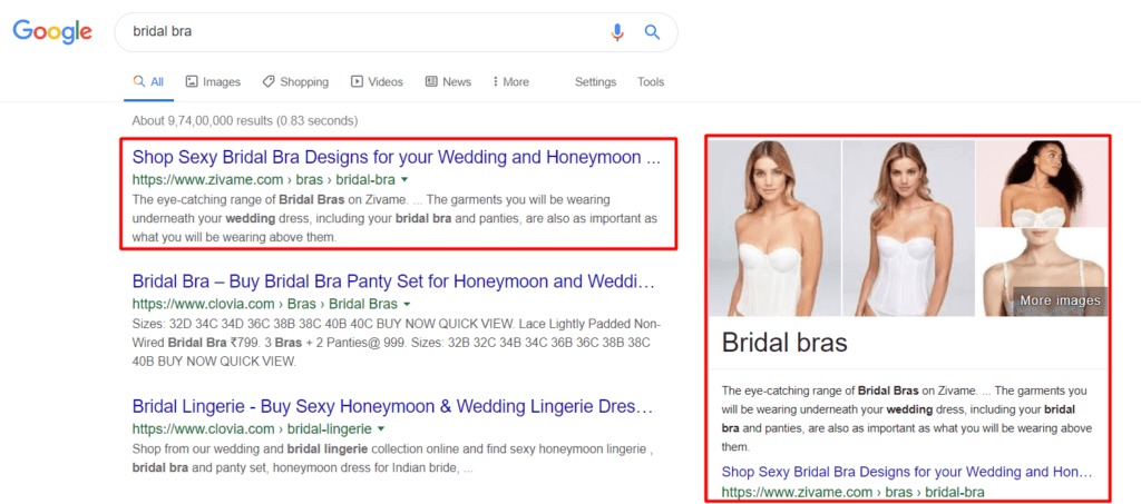"""Bridal Bra"" keyword is ranking in #1 position and in the featured snippet"