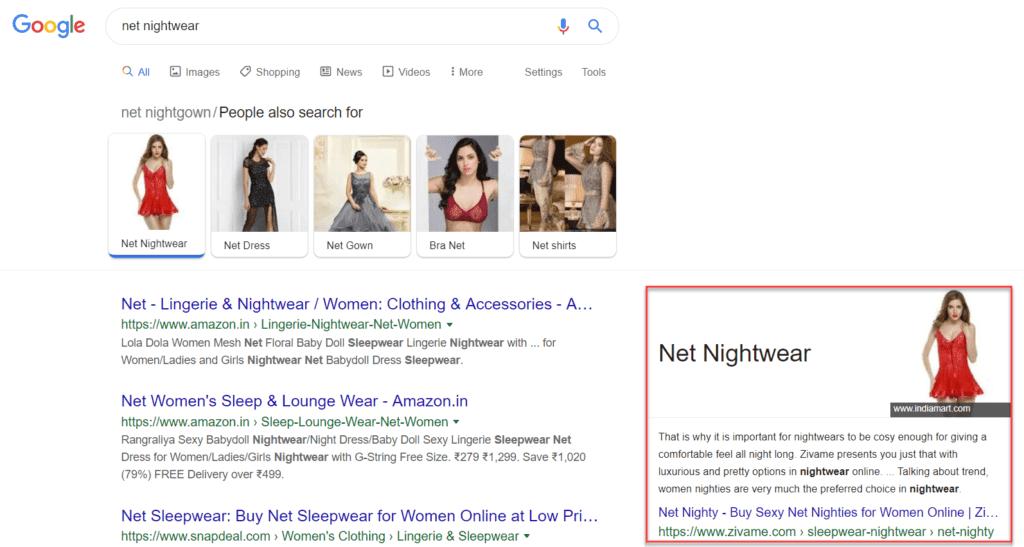"""""""Net Nightwear"""" is ranking as featured snippet"""