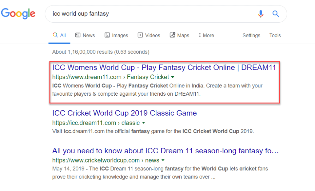 """""""ICC world cup fantasy"""" keyword is ranking 1st in Google SERP"""