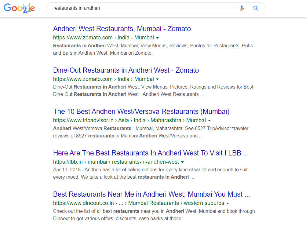 Local SERP is result that appears when a local search query is made
