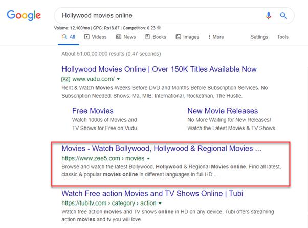 "#1 on ""Hollywood Movies Online"" keyword"