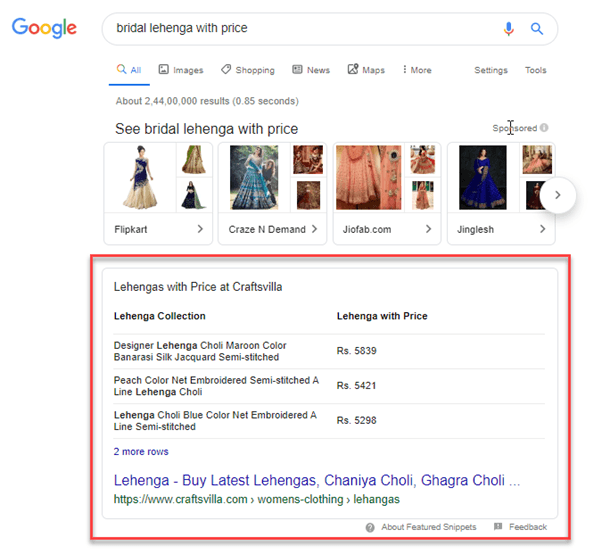 featured snippet of bridal lehenga with price