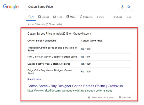 featured snippet of cotton saree price