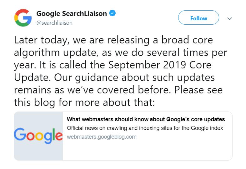 Google Releases September Algorithm Update
