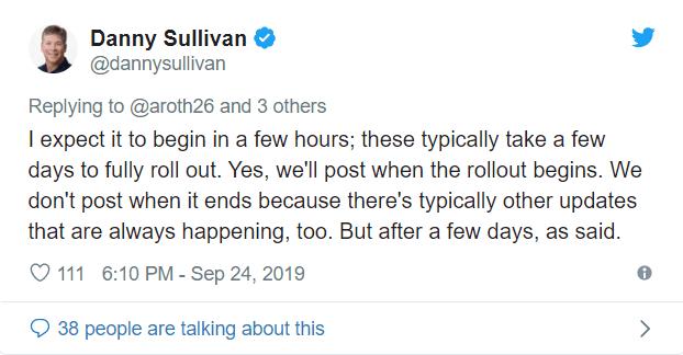 Google's Danny Sullivan Tweet