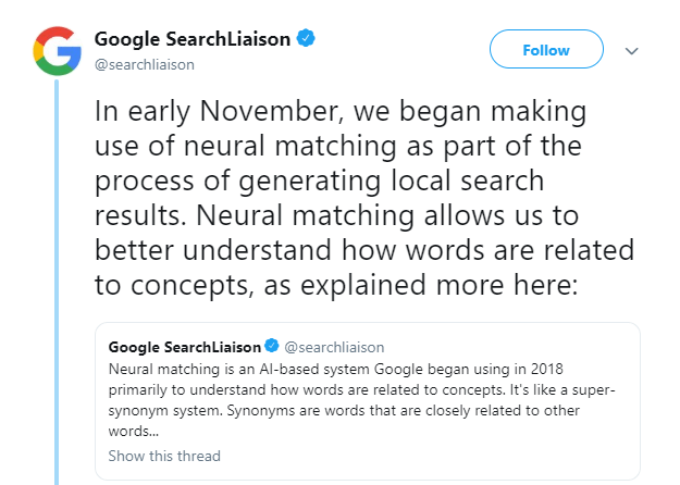 Local Search 2019 November Update Tweet