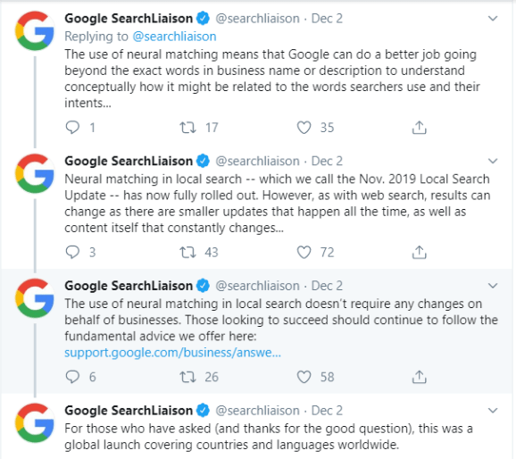 Google Confirms Nov Local Search Update 2019 Tweet
