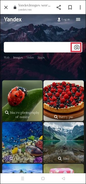 Yandex Image Search Page