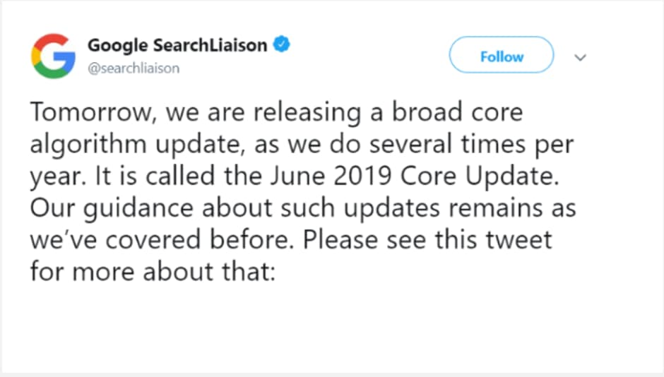 Google June 2019 Core Update Tweet
