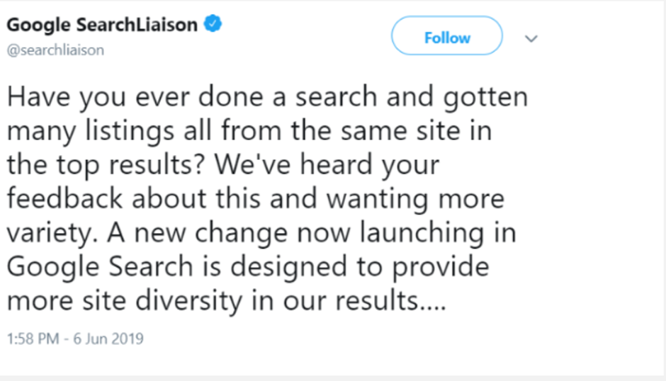 Google Search Liaison Tweet 3