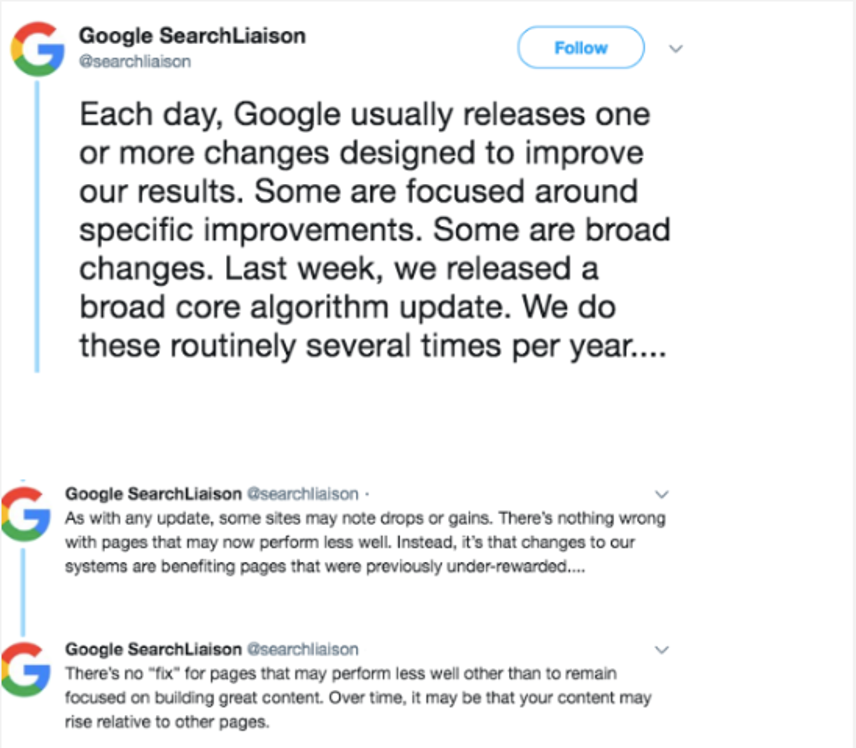 Google Search Liaison Tweet Reply