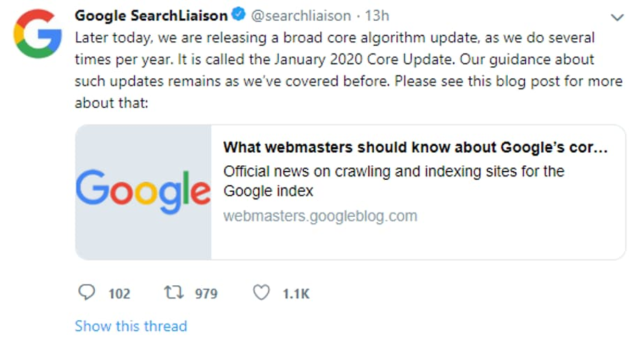 Google Search Liaison Tweet 2