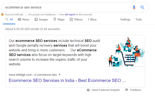Featured snippet for query ecommerce seo service