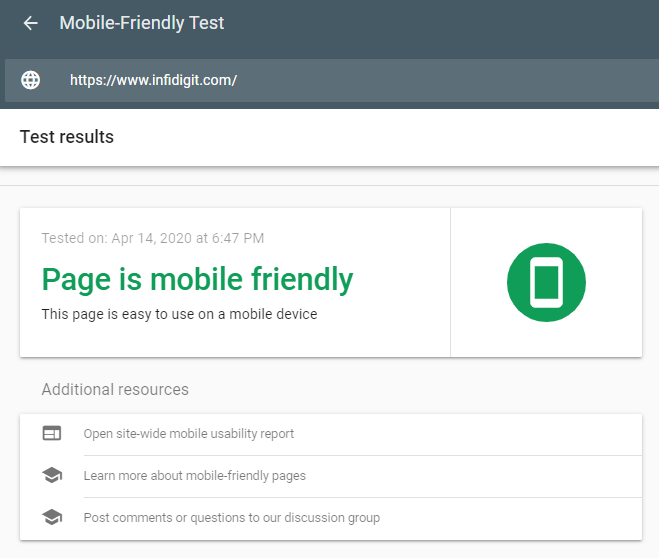 Mobile friendly website is one of the google ranking factors