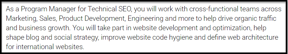 Google SEO Manager Job Description