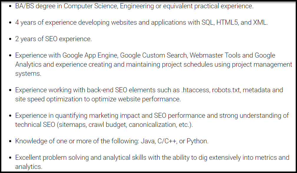 SEO Manager Required Qualifications