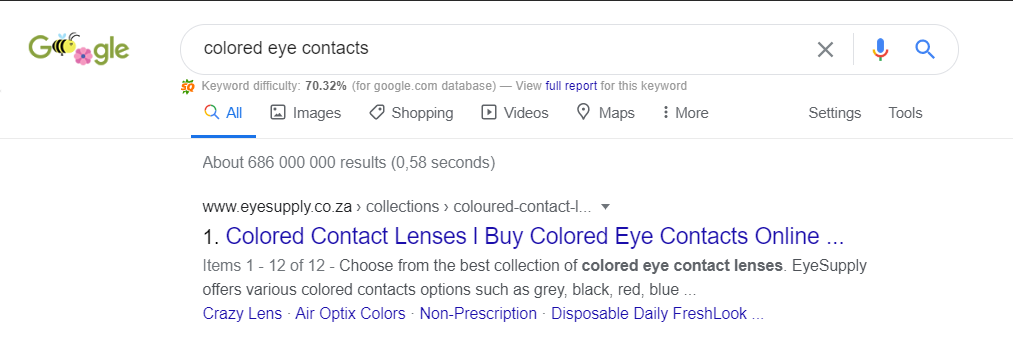 Eyesupply is ranking #1 for Colored Eye Contacts