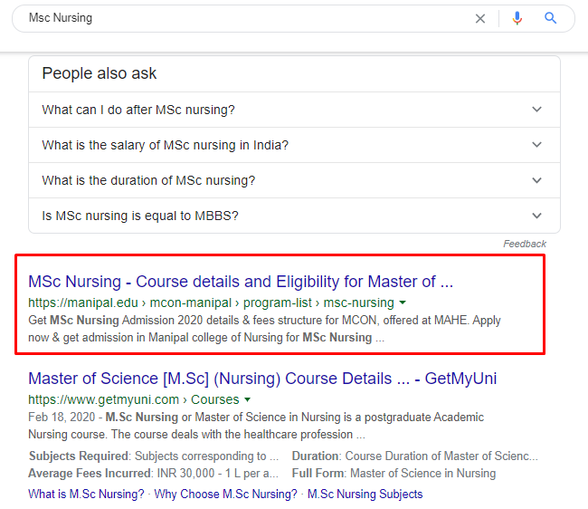 Manipal University is ranking for MSc Nursing