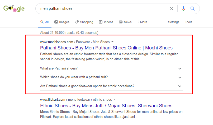Mochi shoes is ranking #1 for Men Pathani Shoes