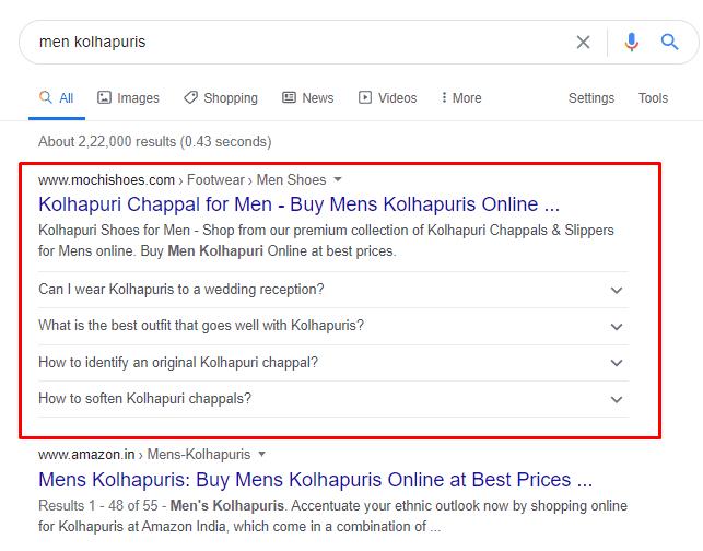 Mochi Shoes is ranking #1 for Men Kohlapuris