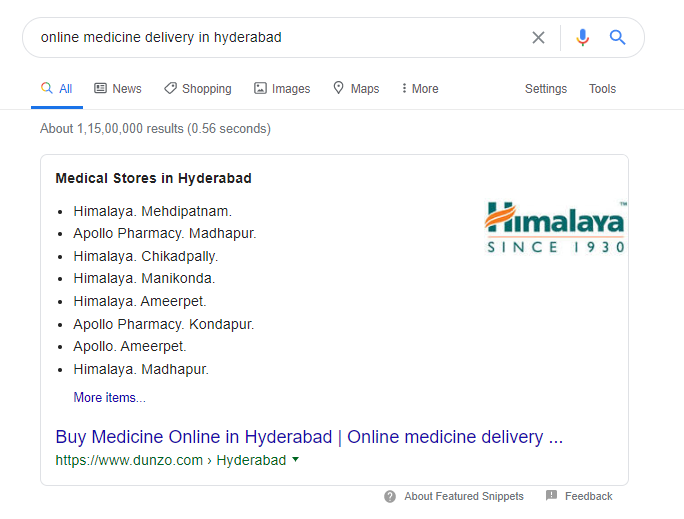 Dunzo is ranking for Online Medicine Delivery in Hyderabad on featured snippet