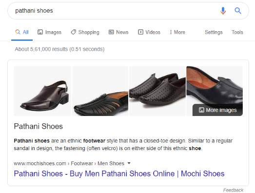 Moci shoes is ranking on featured snippet for Pathani shoes