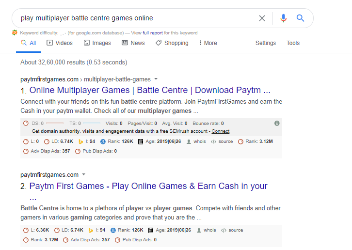 Paytm First Games Ranking for play multiplayer battle centre games online