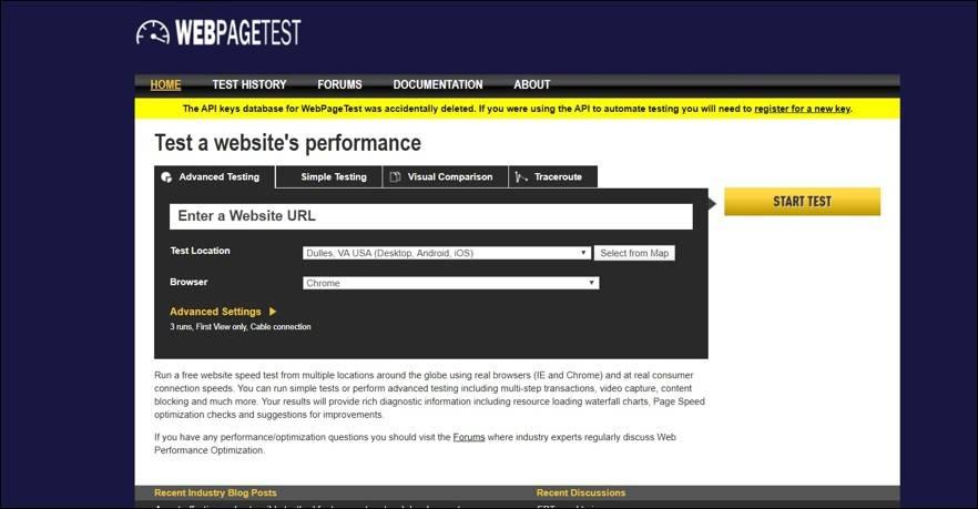 WebPage Test Tool