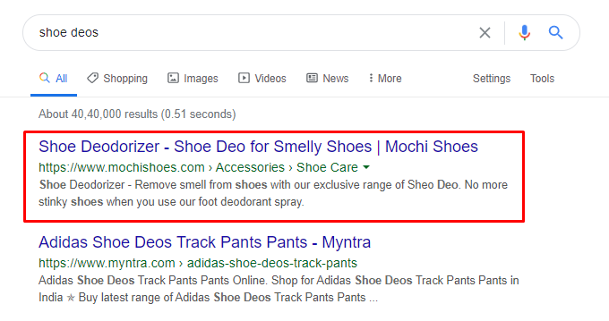 Mochi shoes is ranking #1 for Shoe Deos