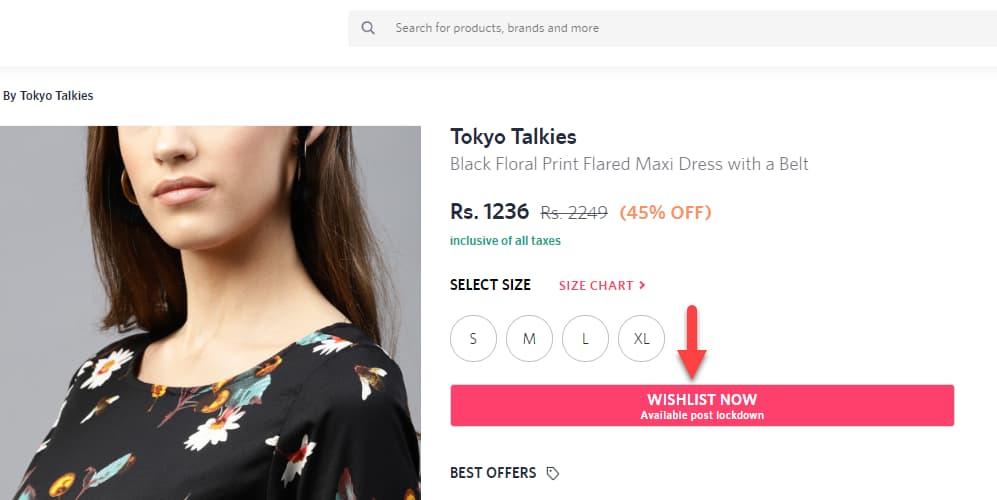 Wishlist on ecommerce website