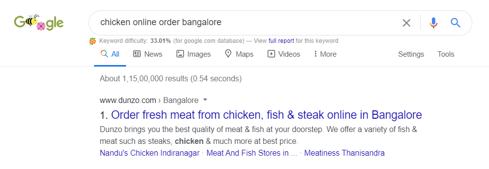 Dunzo is ranking Chicken Online Order Bangalore in rank #1