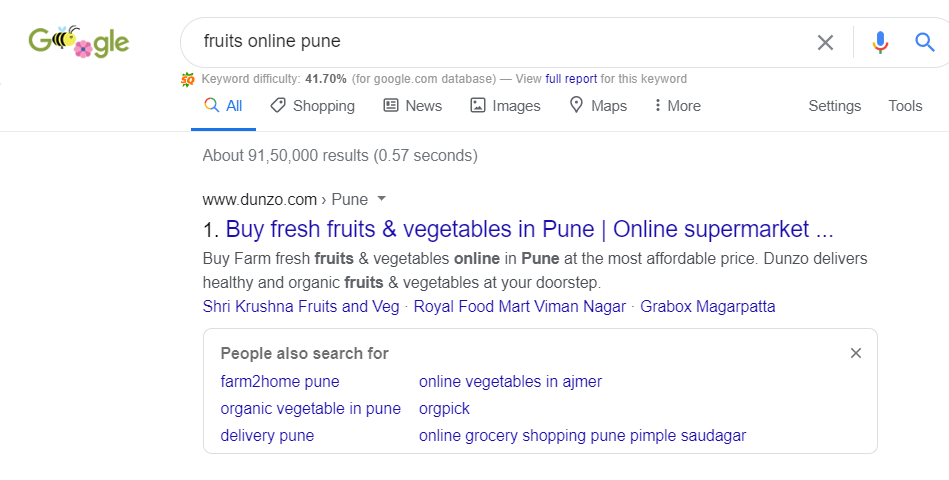 Dunzi is ranking #1 for Fruits Online - Pune