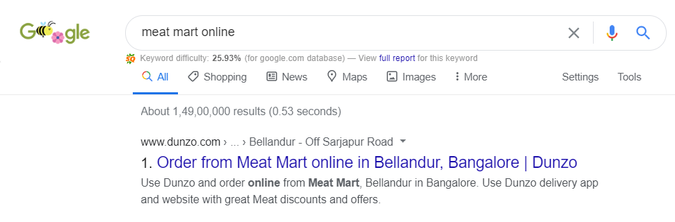 Dunzo is ranking #1 for meat mart online