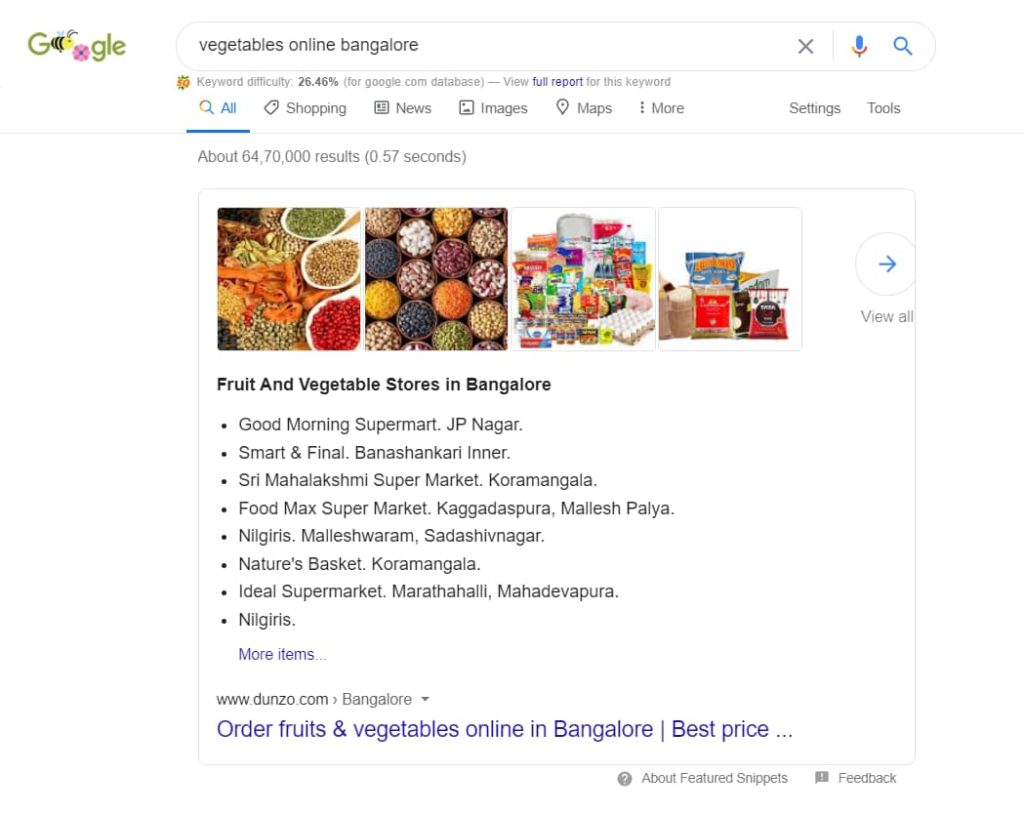 Dunzo is ranking for Vegetables Online Bangalore on featured snippet