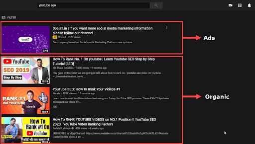 YouTube Ads & Organic Results