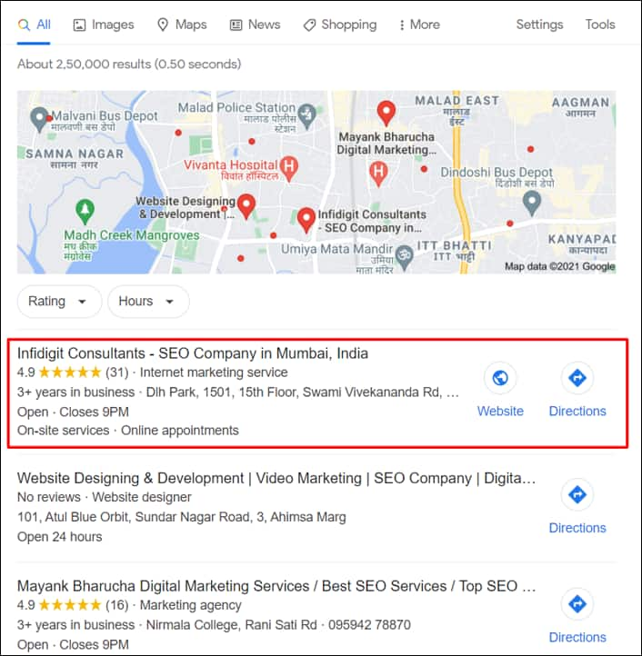 Google Business Listing on SERP