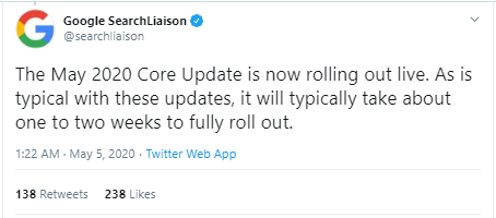 Recently Google announced May 2020 core update