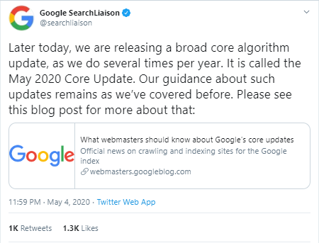 Google announced May 2020 core update