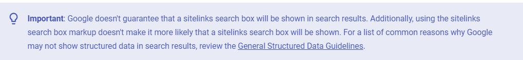 Google developer guide on sitelinks search box statement