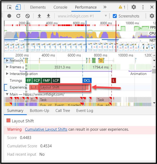 Chrome DevTools Core Web Vitals Metrics