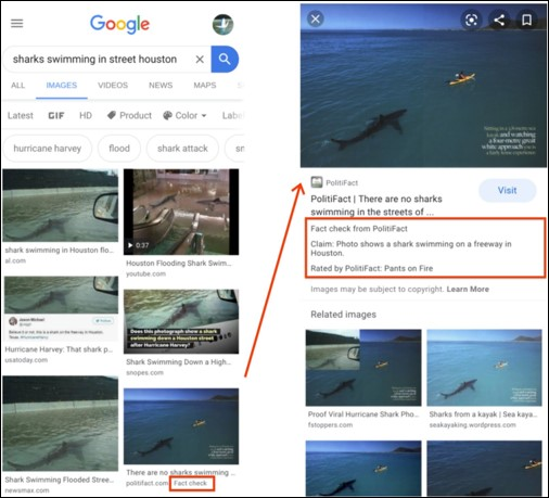 Fact Check Information To Image Search Results