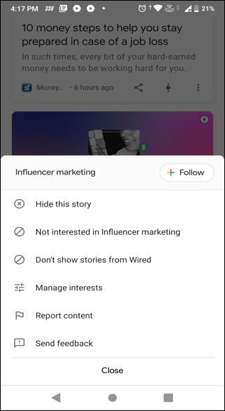 Google Discover lets you follow and unfollow topics as per your interests