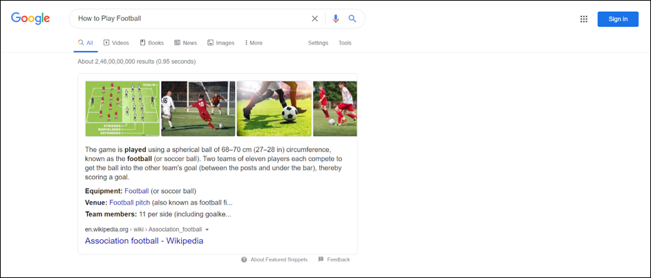 Google Search - How to play football
