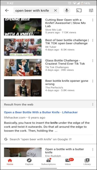 Latest Testing by Google displaying web pages in YouTube search results